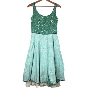 Anthropologie Snak Green Floral Striped Dress